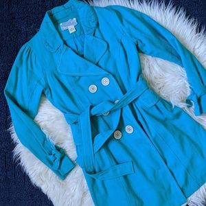 Nick & Mo turquoise cotton pea coat